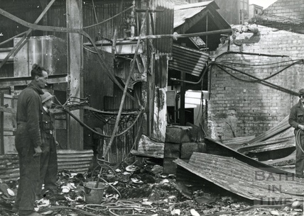 Bomb damage to Stothert & Pitt's Newark Works, Bath, April 1942