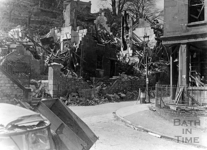 Ruined cottages in Holloway, Bath, April 1942