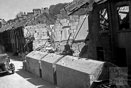 Surface shelters in Cheltenham Street, Lower Bristol Road, Bath, April 1942