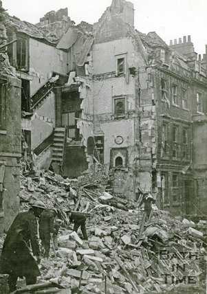 Clearing the debris the morning after. New King Street, Bath, April 1942