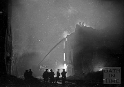 Firemen tackling a blaze in James Street West, Bath April 1942