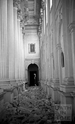 Damage to the ceiling of the chapel at Prior Park College April 1942