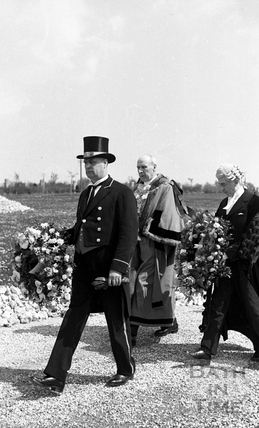 The Mayor (Alderman Aubrey Bateman) and the Town Clerk (Mr. J. Basil Ogden) walked in the funeral procession at Haycombe Cemetery, Bath, 1942