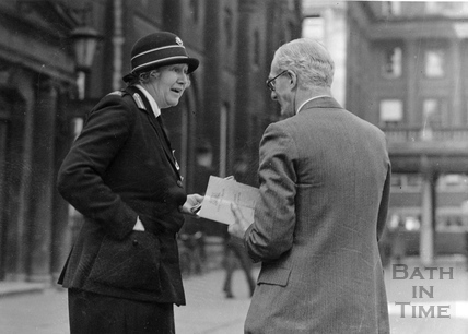 Countess Berkeley outside the Pump Room, Bath, 1942