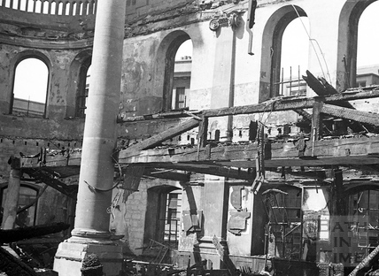 The fire ravaged interior of St James Church April 1942
