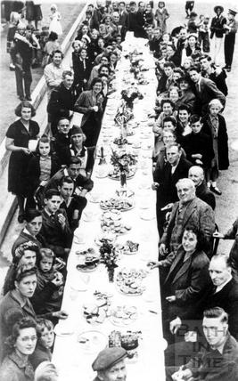 VE Day street party, Dartmouth Avenue, Oldfield Park, Bath 1945