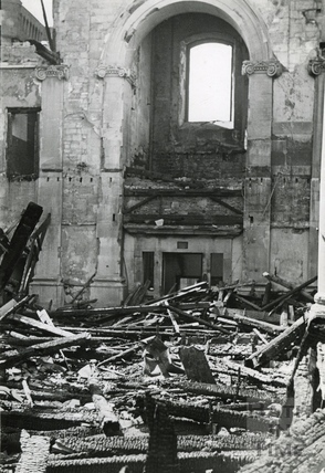 The burnt out interior of St James Church, Bath, April 1942