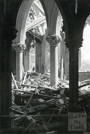The bombed out interior of St Johns Roman Catholic Church, South Parade, Bath, April 1942