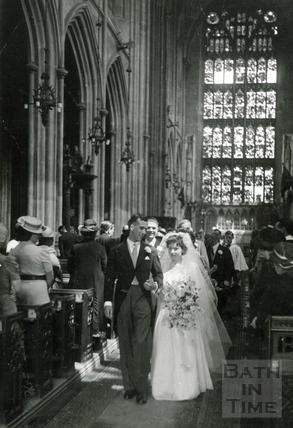 A wedding in Bath Abbey, April 1942