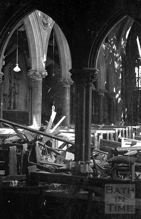 The bombed out interior of St Johns Roman Catholic Church, South Parade April 1942