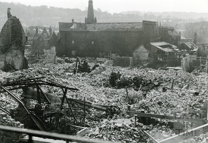 All that remains on Monday of Fullers Garage and surrounding buildings, Monmouth Street, Bath, April 1942