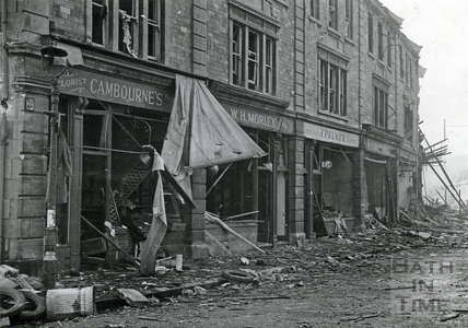 A row of gutted shops in Bear Flat, Bath, April 1942