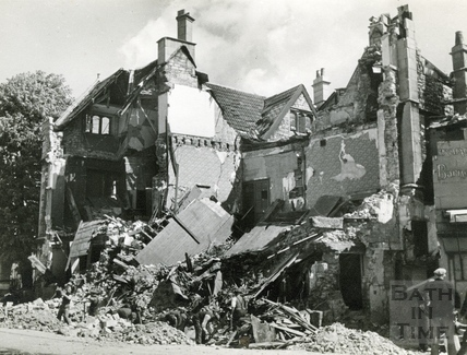 Abbey Church House, Bath, after receiving a direct hit, April 1942