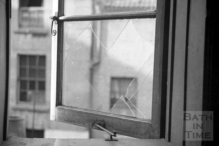 A view through a shattered window after the bombing in Bath, April 1942