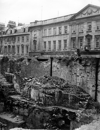 Exposed vaults and cellars opposite Westgate Buildings, Bath, 1970