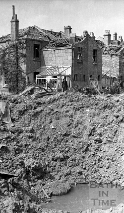 Garden bomb crater, Lower Weston, Bath, April 1942
