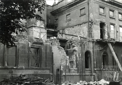 The ruined west wing of the Royal National Hospital for Rheumatic Diseases (The Min), Bath, April 1942