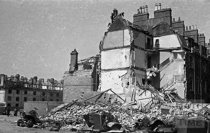 Destroyed buildings in Kingsmead Street, Bath, 1942
