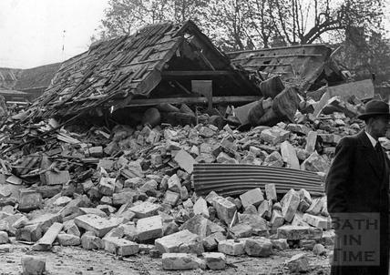 Bomb damage at Circus Mews, Bath, April 1942