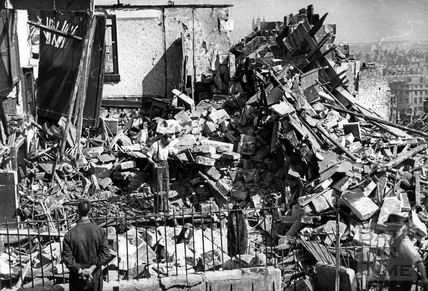 Searching the ruins of bombed buildings, Wells Road, Bath, April 1942