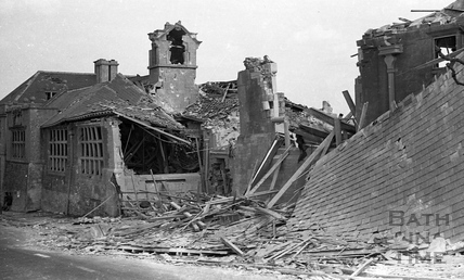 West Twerton School, Bath after a direct hit, 1941