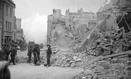 Workers help clear Julian Road in Bath of rubble after the extensive bombings April 1942
