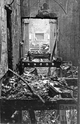 The burnt out Mendip Press building, Bath, April 1942