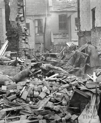 Digging for survivors following the Bath Blitz, April 1942