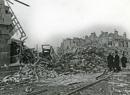 Devastation after the bombing in Victoria Road, Bath, April 1942
