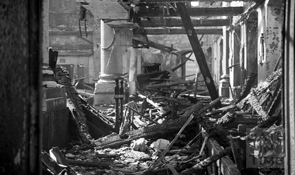 The burnt out interior of St James Church April 1942