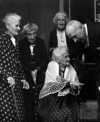Mrs. Elizabeth Dick, aged 101 and friends, bombed out of her house in Belvedere, Bath, April 1942