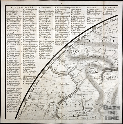 Thos. Thorpe Map of 5 miles round Bath. Saltford, Kelston, North Stoke, Upton Cheyney 1742