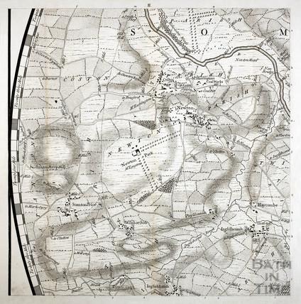 Thos. Thorpe Map of 5 miles round Bath. Stanton Prior, Newton Park, Englishcombe, Corston 1742