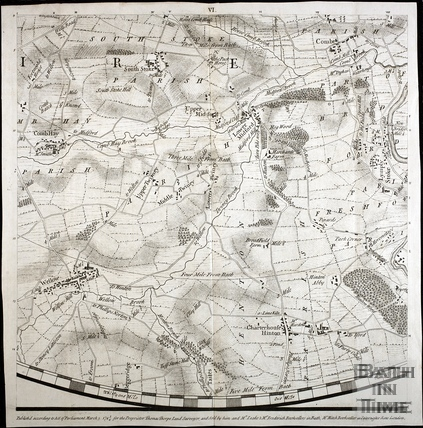 Thos. Thorpe Map of 5 miles round Bath. South Stoke, Combe Hay, Wellow, Twinhoe, Hinton Charterhouse, Midford, Combe Down, Monkton Combe 1742