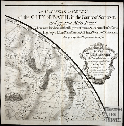 1742 Thos Thorpe Map of 5 miles round Bath. St Catherine, Oakford, Batheaston, Bannerdown, Shockerwick
