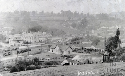 View of coal pit and railway in Radstock. Date unknown