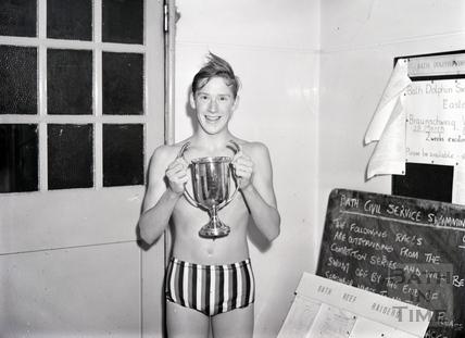 Bath Dolphin swimming club cup winner Ian Gray, c.1969