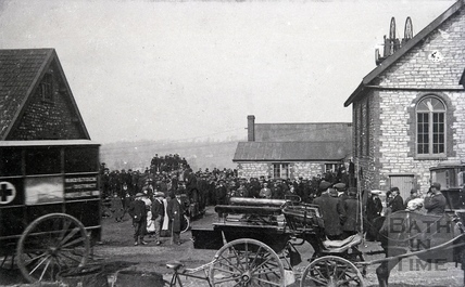 Radstock and District horse-drawn ambulance and cart. Date unknown.