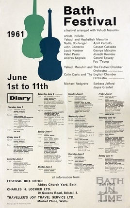 The Bath Festival Events Poster 1961