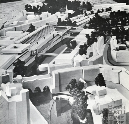 View over Pulteney Bridge of the south west and south east quadrants 1966