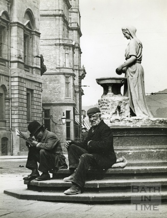 Taking a break at Rebecca's Fountain c.1920