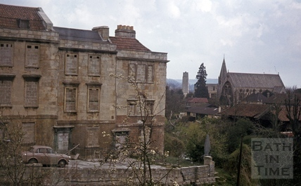 Nos 10 12 Chatham Row, Bath viewed from Ladymead House 9 April 1977