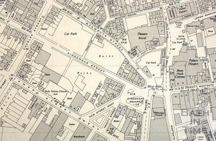 Kingsmead Square and surrounding area 1:1250 OS map 1951 - detail