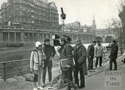 Filming in front of the Empire Hotel beside the river 1965
