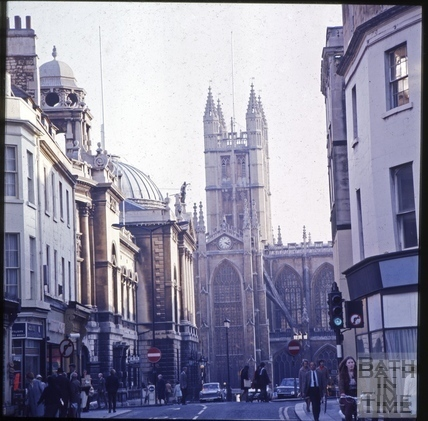 Looking down High Street from Northgate Street c.1975