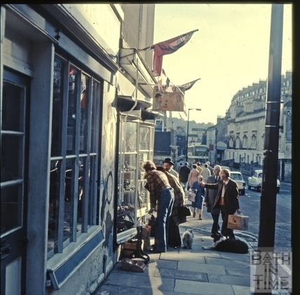 Looking in the shop window of Old Jack's, Walcot Street c.1975