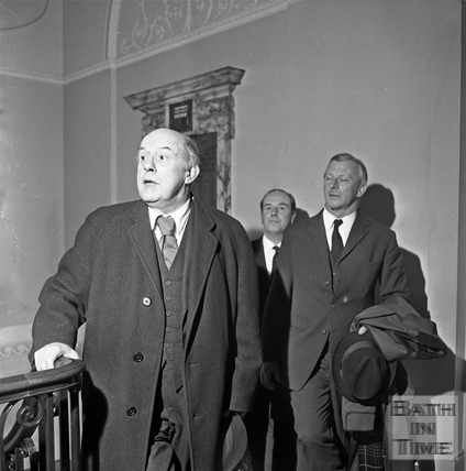 Sir John Betjeman arriving to talk to the Institute of Bankers 14 January 1971