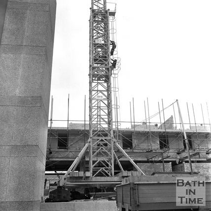 Lord Snowdon and Adam Fergusson climbing the tower crane at the site of the Beaufort (Hilton) Hotel March 1972