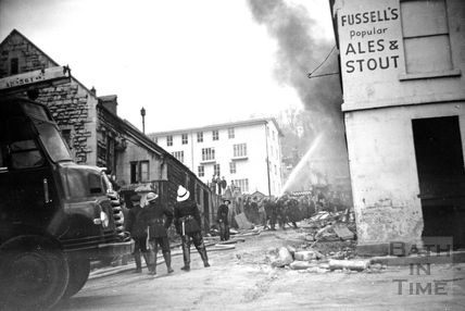 Fire fighting in Bath, up Middle Dover Street and into Upper Dover Street, c.1964