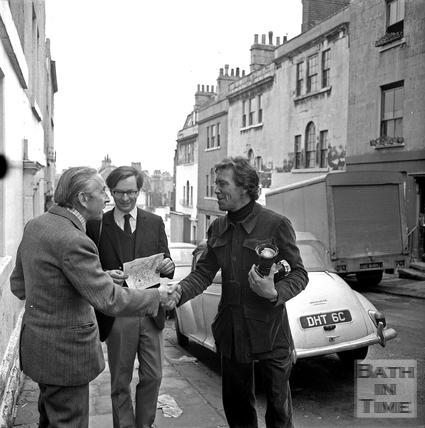 Lord Snowdon and Adam Fergusson greet Robert Henshaw of the Bath Preservation Trust March 1972